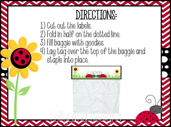 "Class Valentine ""Lady Bug"" Baggie Toppers"