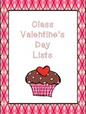 Class Valentine's Day List