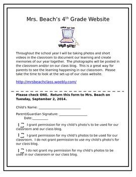 Class Website Permission Slip