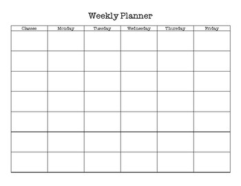 Class Weekly Planner