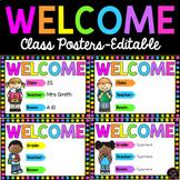 Class Welcome Posters - School Kids - Editable