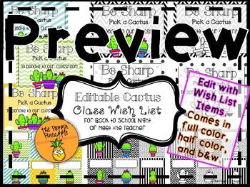 Class Wish List for Meet the Teacher in Cactus Theme EDITABLE