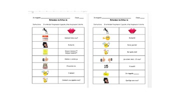 French Common Expressions- Class Work sheets and Participation