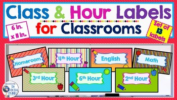 Class and Hour Labels for Secondary Classrooms