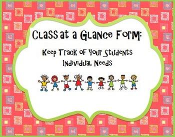 Class at a Glance (Class Summary Form)