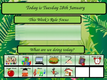 Class attendance powerpoint with daily schedule slide
