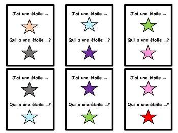 Class colors game in French, jeu, la course aux couleurs