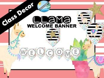 Class decor / theme WELCOME banner - LLAMA