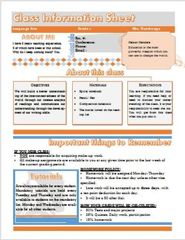 Class information Sheet- Syllabus {fully editable}
