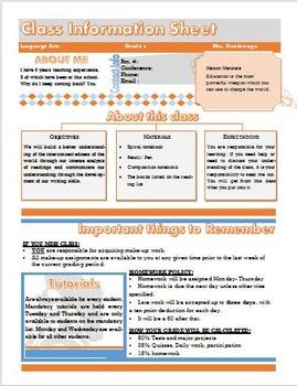 Class information Sheet- Syllabus {fully editable}