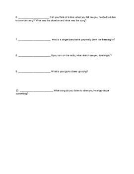 Class interview worksheet: Music genres
