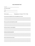Class introduction form