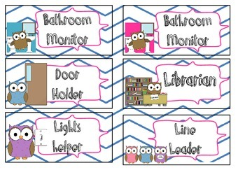 Class jobs, Daily 5, & Math Station Labels
