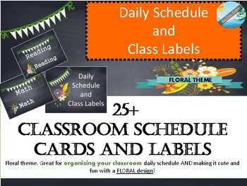 Class labels and schedule cards FLORAL CHALKBOARD THEME