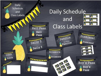 Class labels and schedule cards with pineapple yellow chalkboard pennent theme