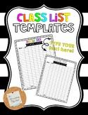 Class List Template Bundle *EDITABLE