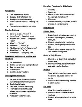 Class management plan