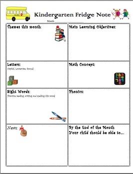 Class newsletter / fridge note