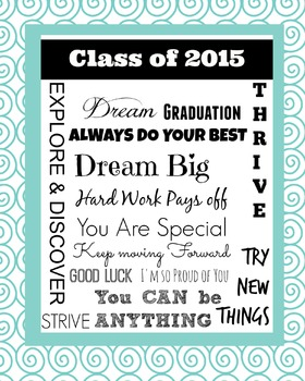 Class of 2015 : End of the Year Poster : Teal