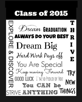 Class of 2015 : End of the Year Poster : Solid Black