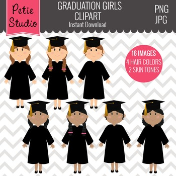 Class of 2016 Graduation // Graduate Clipart with Girls - EV132
