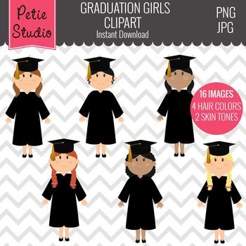 Class of 2016 Graduation // Graduate Clipart with Girls - EV132