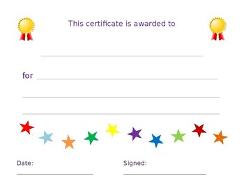 Class or Student Awards Certificates