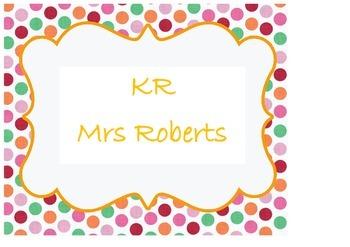 Class or teacher poster with polka dot border