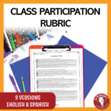 Class participation rubric in English and Spanish | Rúbric