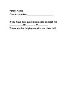 Class pet permission form