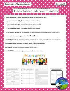 Mi Horario II - Student Class Schedule (Class subjects) - Spanish 1