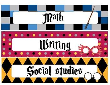 Class schedule Harry Potter theme