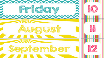 Class schedule cards with summer and beach theme