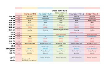 Class schedule for subjects AND Weekly Lesson Plans