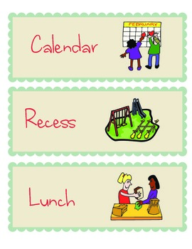Class schedule with 31 labels and pictures