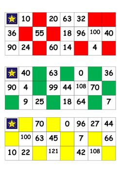 Class set Multiplication Bingo Cards