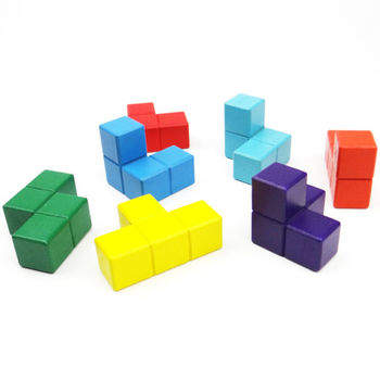 Class set of 10 Wooden Soma Cube Puzzles with Challenge Cards