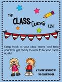 Class teams list-FREEBIE