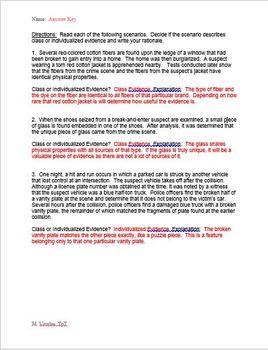 Class vs. Individualized Evidence Forensics Worksheet
