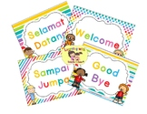 Class welcome sign rainbow theme in English and Indonesian