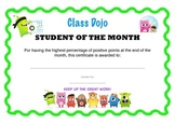 ClassDojo Student of the Month Certificate