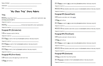 Class/Field Trip Essay Teacher Assessment Rubric by Bethany Anthony