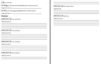 Class/Field Trip Essay Teacher Assessment  Rubric