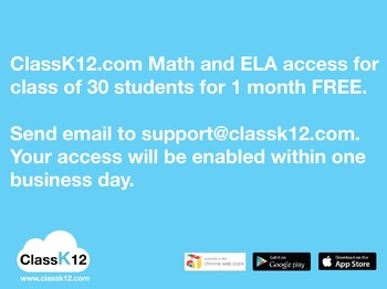 ClassK12.com Math and ELA for a class of 30 students (1 month)