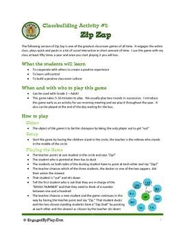Classbuilding Activity - Zip Zap