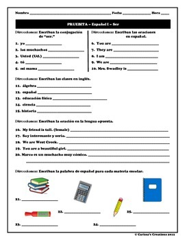Classes & Ser Quiz - 3 DIFFERENTIATED versions - Spanish/Español