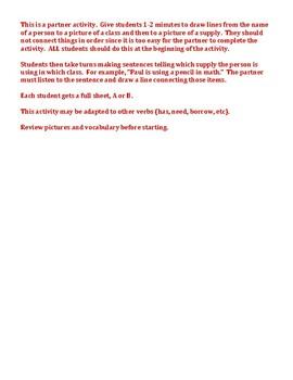 School Classes and Supplies Partner Speaking Activity
