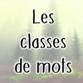 Classes de mots - Notes