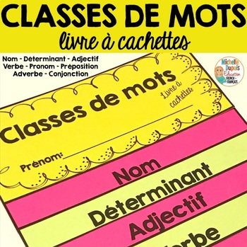 Classes de mots - livre à cachettes  -  French Parts of Speech