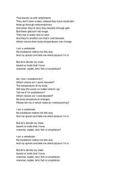 Classes of Vertebrate Song (Mammal, Reptile, Bird, Fish, Amphibian)